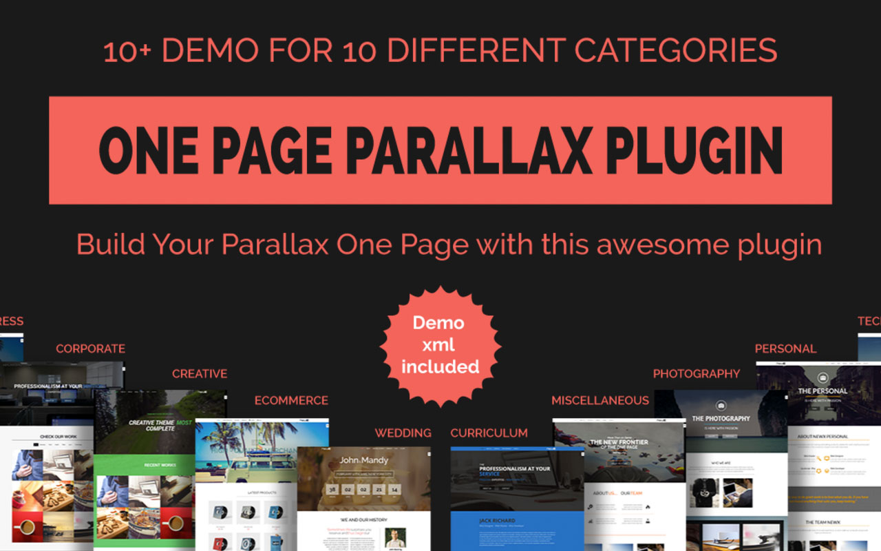 Parallax One Page Builder WordPress Plugin