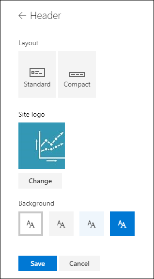 SharePoint site header layouts